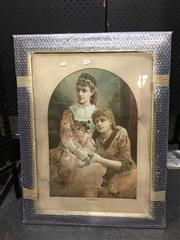 Sale 8750 - Lot 2036 - Edwardian Chromolithograph Portrait of Two Sisters
