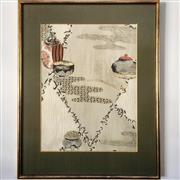 Sale 8878T - Lot 39 - Japanese Framed Silk Print of Incense Burners, Framed by Kato, TokyoDimensions of Frame 44cm x 56cm