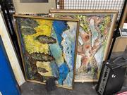 Sale 8924 - Lot 2097 - Peter Horden ( 2 works) Dawn & Born Freeoil on canvas, 100 x 70cm, each