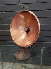 Sale 9002 - Lot 1064 - Vintage repurposed Copper Pan Table Lamp with Cast Iron Base (h:47cm)