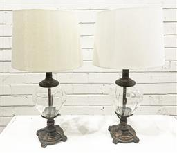 Sale 9112 - Lot 1023 - Pair of composite base table lamps with glass mid sections (h:55cm)