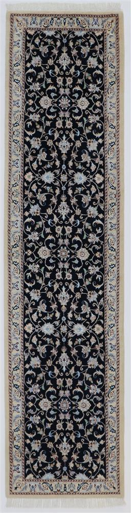 Sale 9123J - Lot 45D - Wool and silk navy field Persian Nain runner 300 x 75cm