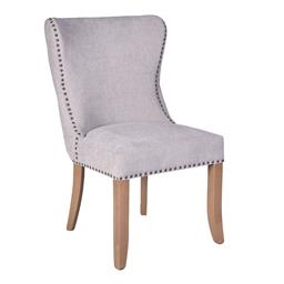 Sale 9250T - Lot 56 - A set of 6 grey linen button back dining chairs with bosquet coloured oakwood legs. Height 95cm x Width 57cm x Depth 66cm