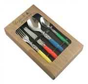 Sale 8372A - Lot 15 - Laguiole by Andre Aubrac Cutlery Set of 16 w Multi Coloured Handles RRP $190