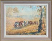 Sale 8443 - Lot 578 - William Young (active c1906 - 1940) - Cattle Herd, 1923 27 x 37cm