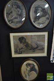 Sale 8487 - Lot 2092 - 3 Oval Framed Pencil Sketches of Young Girls & a Rectangular Framed Pencil Sketch of a Dog (4)
