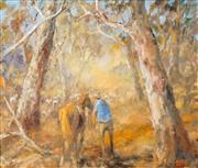 Sale 8526 - Lot 554 - Hugh Sawrey (1919 -1999) - The Dawdling Mob, W. QLD 49.5 x 59.5cm