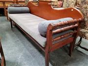 Sale 8848 - Lot 1022 - 19th Century Colonial Cedar, Blackwood & Kauri Pine Miners Settle, the shaped back with rolling pin, turned side rails & loose fabr...