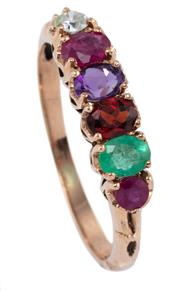 Sale 8954 - Lot 338 - A VICTORIAN STYLE GEMSET REGARD RING; set in line with round and oval cut ruby, emerald, garnet, amethyst, ruby and round brilliant...