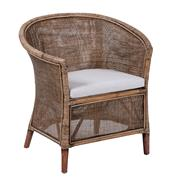 Sale 8957T - Lot 30 - A Rattan and linen occasional chair in grey honey brown. Featuring rattan wrapped frame W76 X D60 X H80