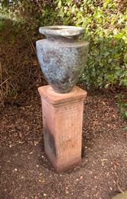 Sale 9005H - Lot 3 - A bronze pot on plinth. (H-43cm pot, H63cm Plinth)