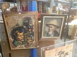 Sale 9111 - Lot 2097 - A Balinese Portrait of an Elderly Man, together with Another Painting depicting Balinese Villages (2)