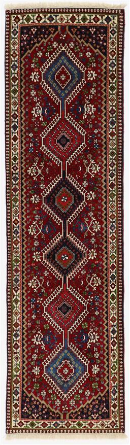 Sale 9123J - Lot 45E - Persian pictorial fine Yalemeh tribal runner in red and blue tones 295 x 80 cm