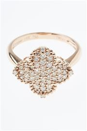 Sale 8347J - Lot 312 - AN 18CT ROSE GOLD DIAMOND RING; quatrefoil mount pave set with 39 round brilliant cut champagne diamonds and four white diamonds, si...