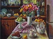 Sale 8443A - Lot 5087 - Margaret Olley (1923 - 2011) - Ranunculus & Pears 51 x 68cm (frame size: 80 x 95cm)