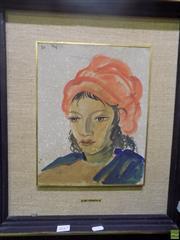 Sale 8557 - Lot 2017 - Italian School Woman in Red Turban watercolour, signed Di Prata upper left