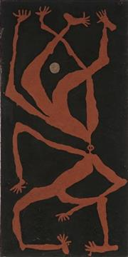Sale 8786 - Lot 596 - Hughie Ahwon (1965 - ) - Dancers and the Moon I 77 x 38cm (stretched and ready to hang)