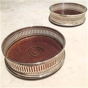 Sale 8878T - Lot 41 - English Hallmarked Sterling Silver Pair of Wine Coasters AC & Sons Limited, 1978, London.  With felt base and mahogany interior.Di...
