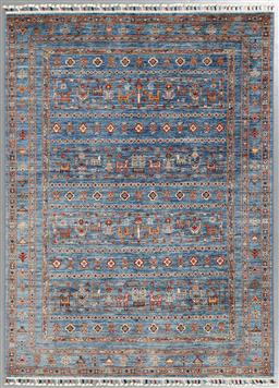 Sale 9123J - Lot 75A - A finely knotted Afghan Pictorial Khorjin rug in sky blue tones 201 x 151cm