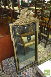 Sale 8317 - Lot 1069 - Antique French Ebonised & Moulded Gilt Gesso Pier Mirror surmounted by a wreath, dove & torch