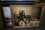 Sale 8410T - Lot 2066 - (2 works) Original paintings by Unknown Artists Still Life & Winter Scene (framed, various sizes)