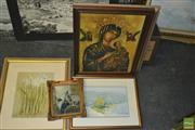 Sale 8422T - Lot 2102 - Collection of (5) assorted artworks including a watercolour by B. Coad and decorative prints, various sizes
