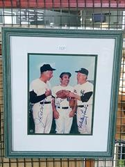 Sale 8582 - Lot 2133 - Baseball Signed Print of Joe Di Maggio, Yogi Berra and Whifey Ford (Cert to Back)