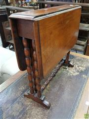 Sale 8634 - Lot 1030 - Diminutive Victorian Walnut Sutherland Table, with bobbin turned legs with gateleg action