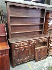 Sale 8653 - Lot 1056 - Good 18th Century French Walnut Vaisselier or Dresser, the open shelves with shaped frieze, above three various length drawers, two...