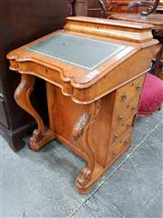 Sale 8848 - Lot 1070 - Victorian Burr Walnut Davenport, with stationery compartment, green tooled leather writing slope & four drawers to one side