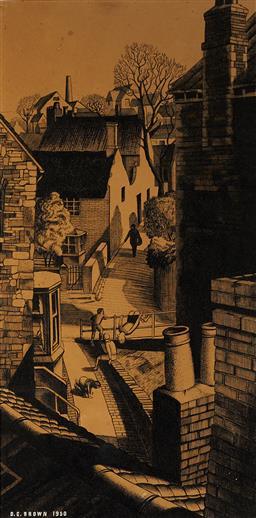 Sale 9099A - Lot 5097 - D.C Brown - Suburban Children, 1950 42 x 21 cm (frame: 59 x 36 x 2 cm)