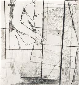 Sale 9249A - Lot 5089 - FREDA WIDOWSKI Outside My Window, 1983 etching, ed. 11/20 15 x 14 cm (frame: 49 x 42.5 cm) signed lower right