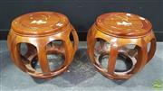 Sale 8371 - Lot 1003 - Pair of Oriental Drum Stools