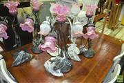 Sale 8431 - Lot 1046 - Collection of Floral Shade Table Lamps