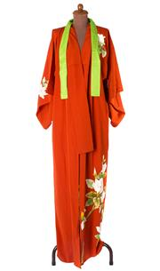 Sale 8550F - Lot 77 - A vintage silk kimono with Magnolias on a burnt orange ground, and lime green collar.