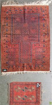 Sale 8601 - Lot 1312 - Red Tone Floor Rug and Prayer Mat (133 x 93cm)