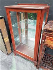 Sale 8672 - Lot 1003 - Small Timber Display Cabinet with Mirrored Back & Two Glass Shelves