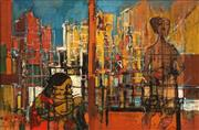 Sale 8692 - Lot 502 - Reinis Zusters (1919 - 1999) - Untitled (Figures in Metropolis) 29.5 x 44.5cm