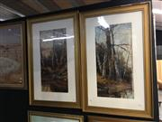Sale 8726 - Lot 2052 - Pair of Forest Scene Oil Paintings by J Fox, each 86 x 55cm (frame size)