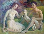 Sale 8752A - Lot 5001 - Arthur Murch (1902 - 1989) - Daphnis and Chloe 34.5 x 44.5cm