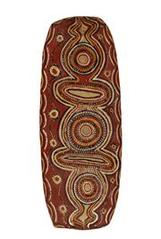 Sale 8770 - Lot 19 - Artist Unknown Port Keats Region circa 1960, Natural earth pigments on oval bark, unframed, H x 86cm