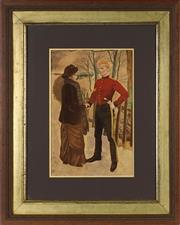 Sale 8853 - Lot 2028 - Artist Unknown (early C20th) The Farewell hand-coloured chromolithograph, frame: 76 x 61cm