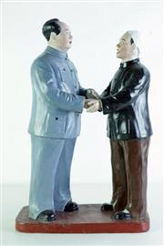 Sale 8968 - Lot 45 - A Large Hand Painted Ceramic Figural Group of Chairman Mao (Hands Repaired) H 53cm