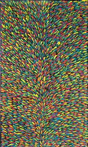 Sale 9021 - Lot 521 - Abie Loy Kemarre (1972 - ) - Bush Medicine Leaf 120 x 70 cm (stretched and ready to hang)