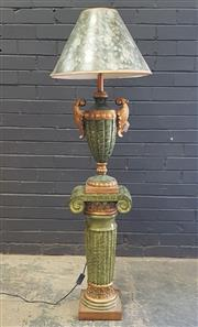 Sale 9026 - Lot 1001 - Gilt & Green Marbled Finish Pedestal & Lamp