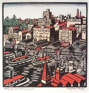 Sale 9034A - Lot 5076 - Margaret Preston (1875 - 1963) - Circular Quay 31x 31 cm (58 x 58 x 3 cm)