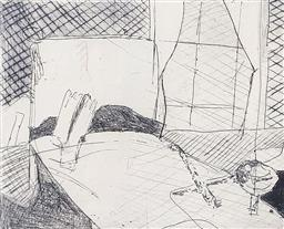 Sale 9249A - Lot 5088 - FREDA WIDOWSKI The Bedroom etching, ed. 2/20 13 x 16 cm (frame: 49 x 42.5 cm) signed lower right