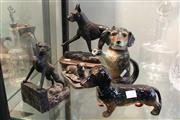 Sale 8306 - Lot 77 - Cast Metal Dog Figure (AF) with Other Dog Figures incl Ceramic Teapot