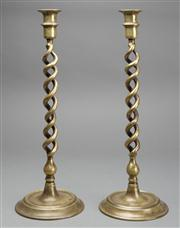 Sale 8444A - Lot 52 - A pair of antique English tall heavy brass double Jacobean twist candlesticks, c1910, H 40cm