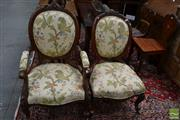 Sale 8460 - Lot 1005 - Pair of Victorian Carved Walnut Gentlemans & Ladys Chairs, upholstered in floral damask & on cabriole legs